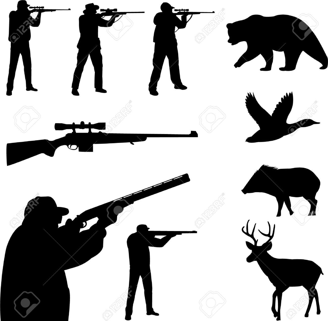 Hunting clipart hunting equipment. Deer cliparts stock vector