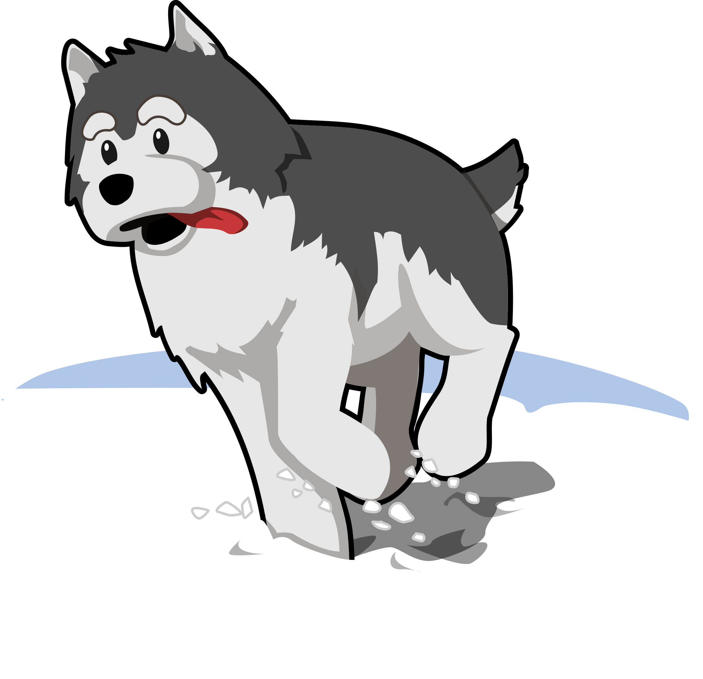 Husky svg face outline. Clipart running in snow