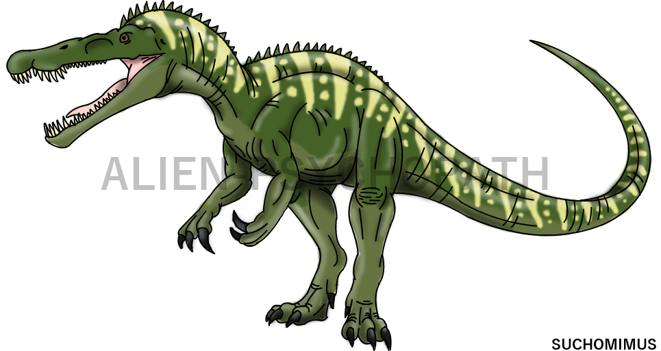 Hybrid drawing jurassic world. Park suchomimus by alien