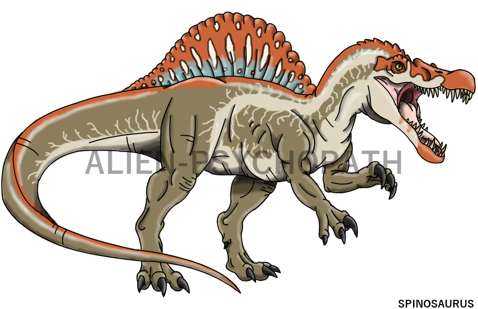 Hybrid drawing jurassic world. Park spinosaurus by alien