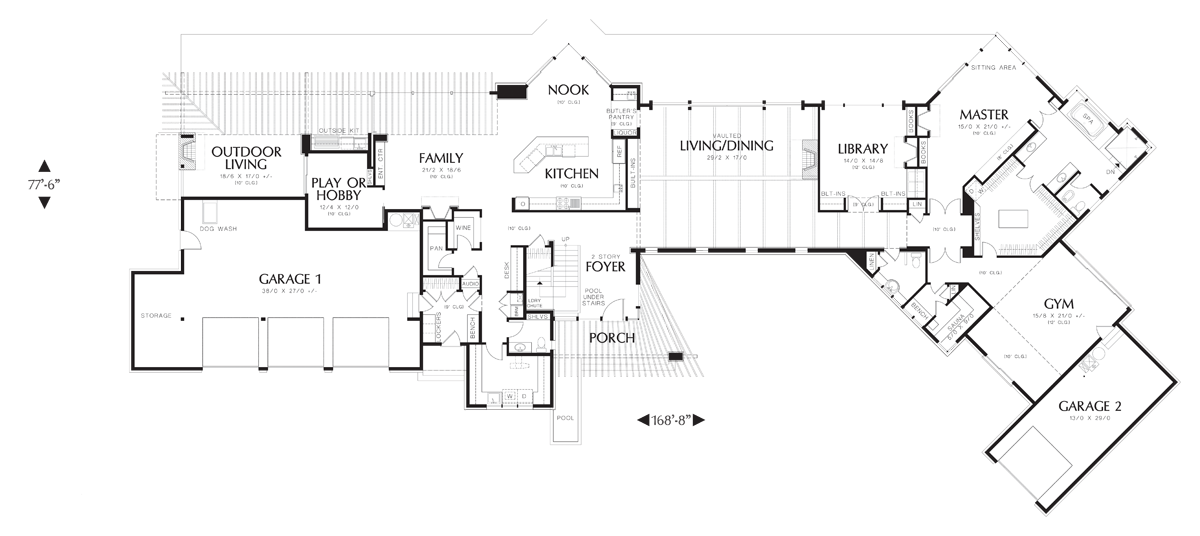 Hybrid drawing modern. Contemporary house plan the