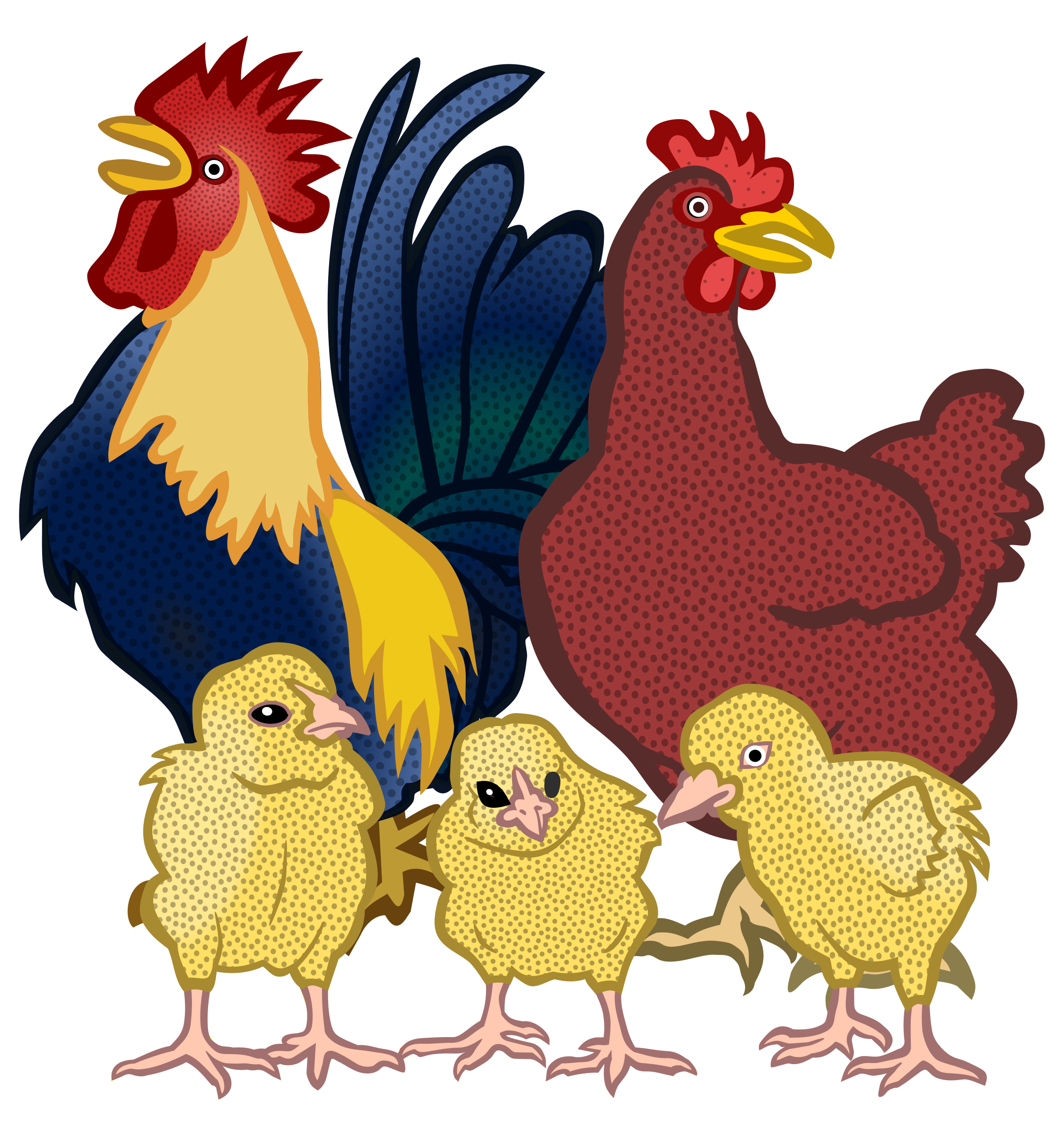 Hen vector head. Clipart chickens coloured big