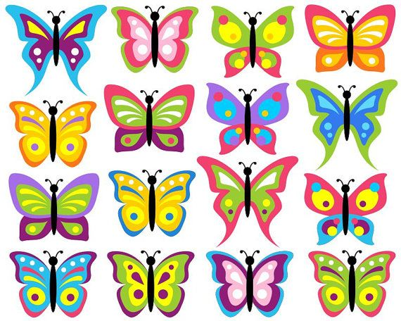 Other clipart colorful butterfly. Butterflies clip art set
