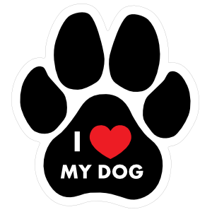Paw with text sticker. I love my dog png picture free stock