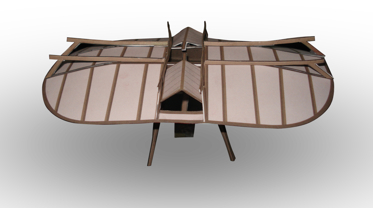 Icarus drawing flying machine. Swedenborg paper model by