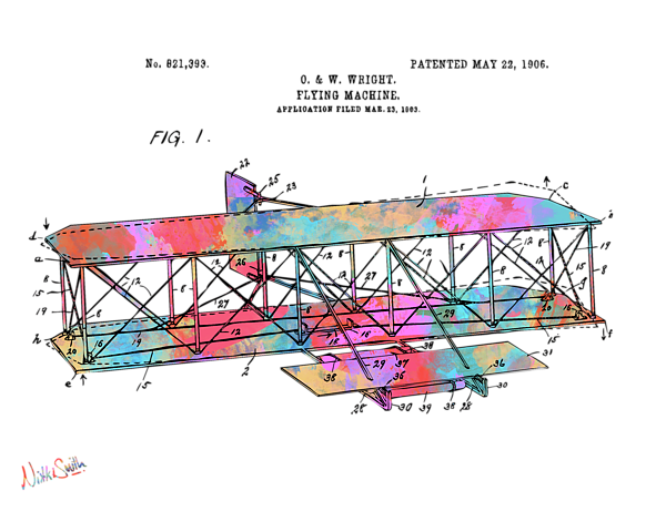 Icarus drawing flying machine. Colorful wright brothers patent