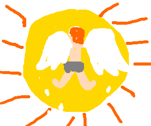 Icarus drawing sun. Flying towards the by