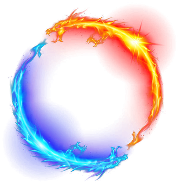 Fire and ice png. Dragon light circle yellow