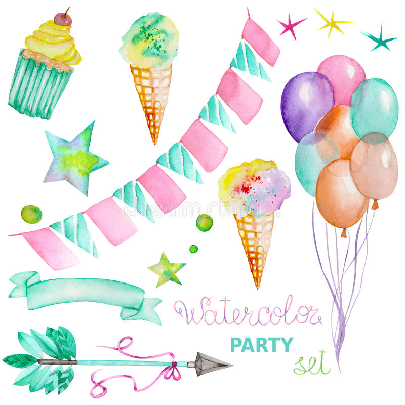 Ice clipart garland. Watercolor party set in jpg freeuse stock