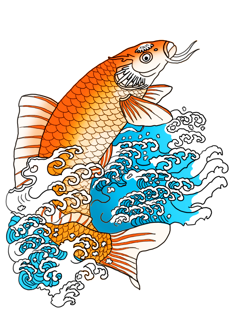 Icicles drawing. Orange koi fish in