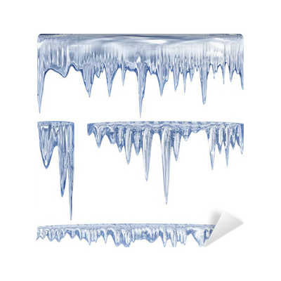 Icicles drawing stalactite. Blue cold wall mural