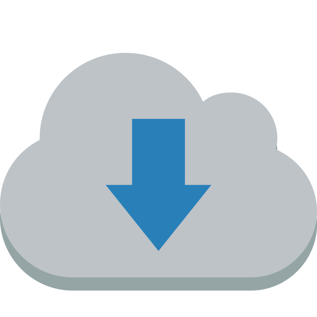 Icon download png. Cloud down small flat
