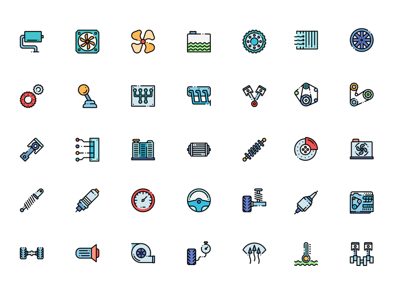 Icon png download free. Colorful engine icons sketch