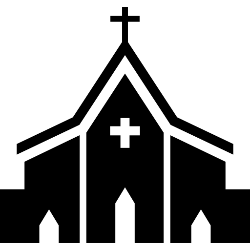 Church free buildings icons. Vector set religious svg library stock