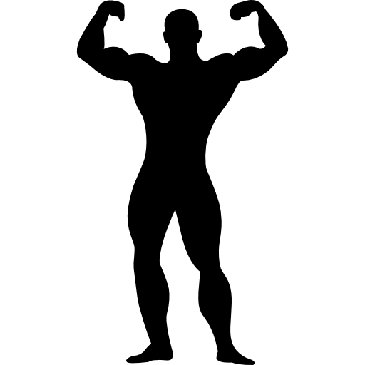Icons muscle man png. Muscular flexing silhouette free