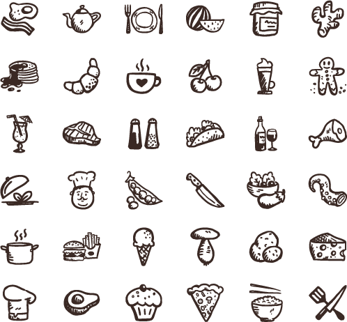 Icons png free download. Tasty hand drawn food
