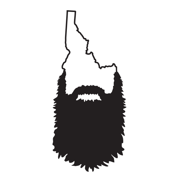 Idaho drawing silhouette. Beard decal wasatch front