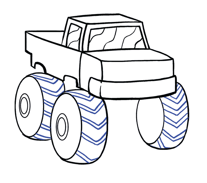 Ideas drawing. Marvellous monster truck outline