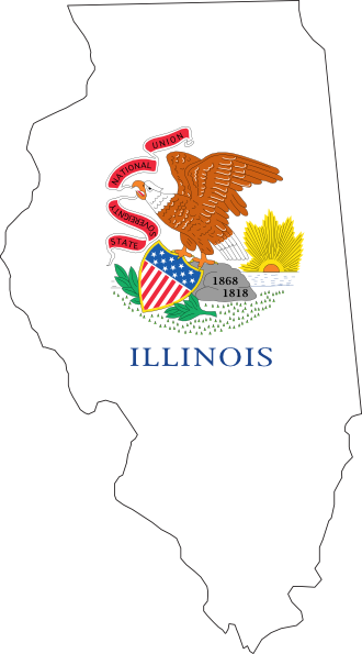 Illinois outline png. With flag clip art