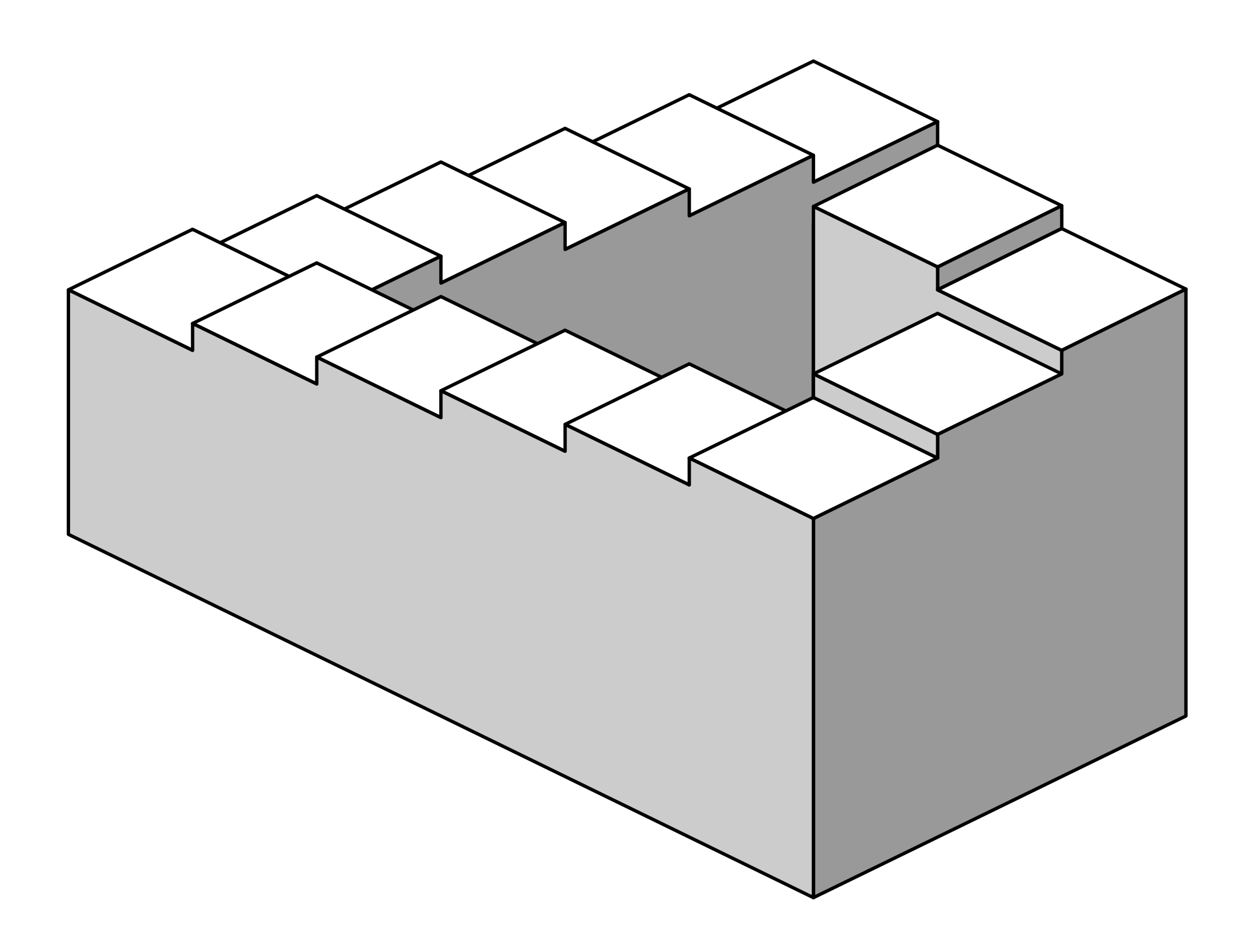 Drawing wall optical illusion. Penrose stairs wikipedia