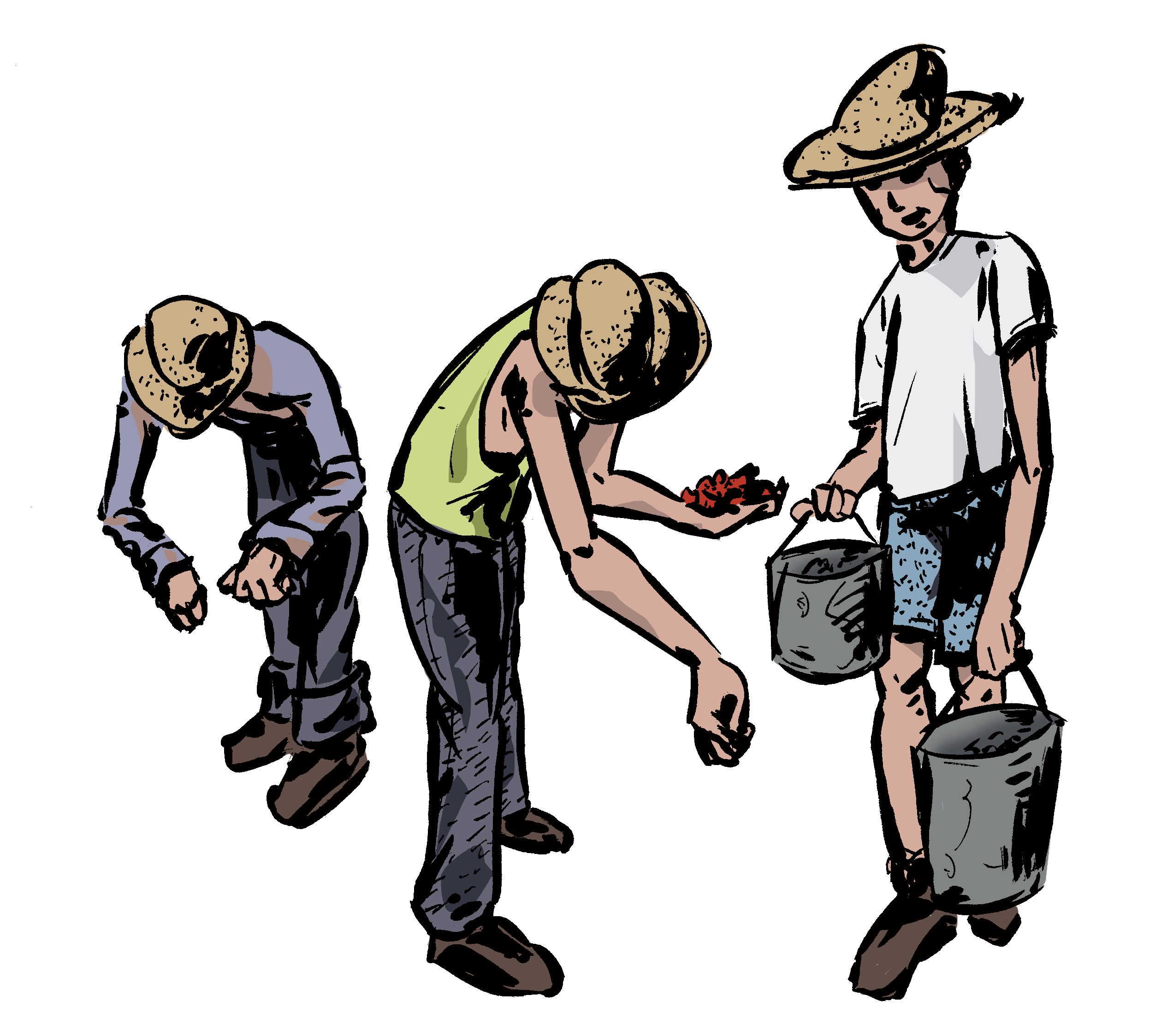 Immigrant drawing. Illustration of migrant workers