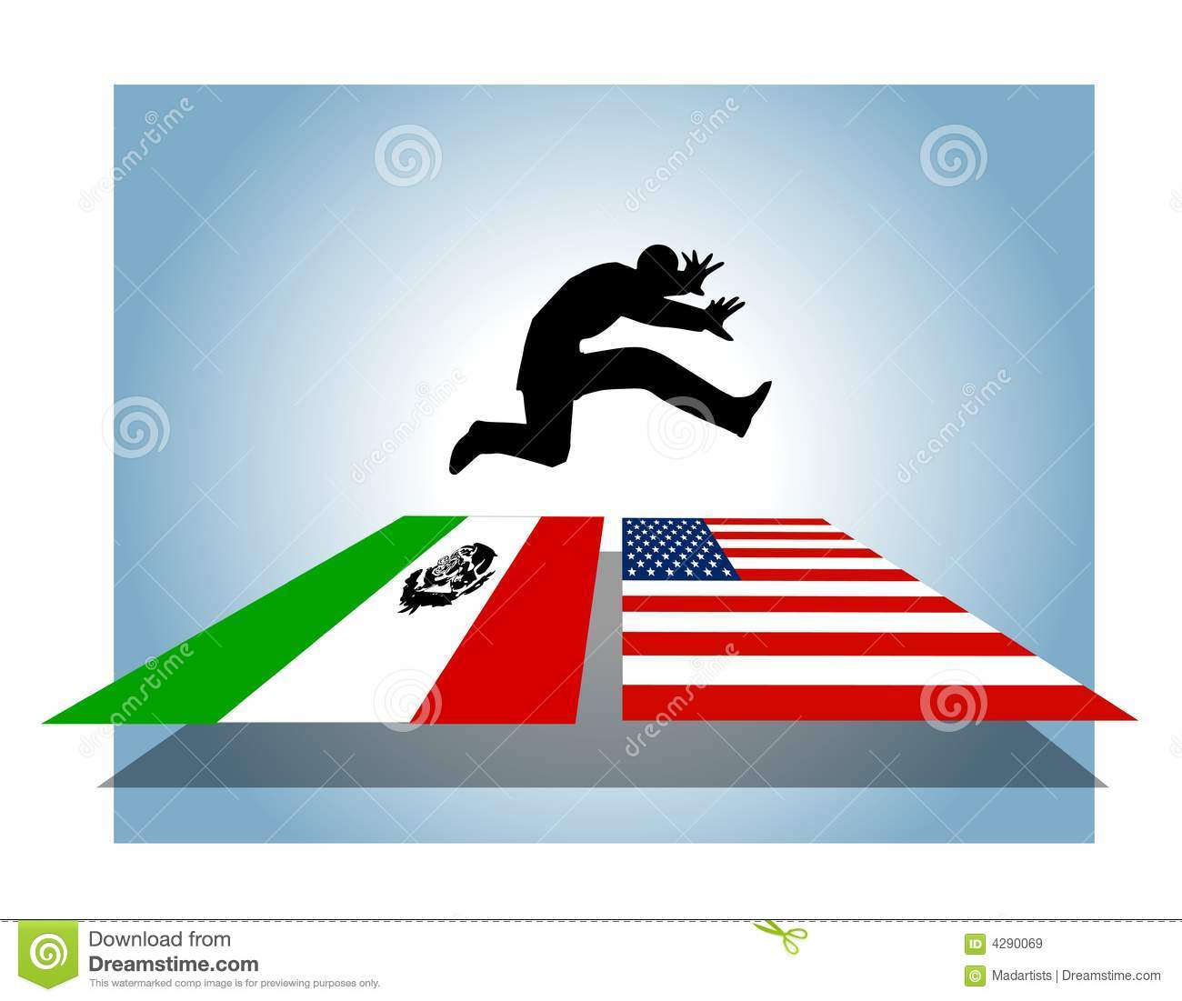 Illegal open border crossing. Immigration clipart clip art royalty free stock
