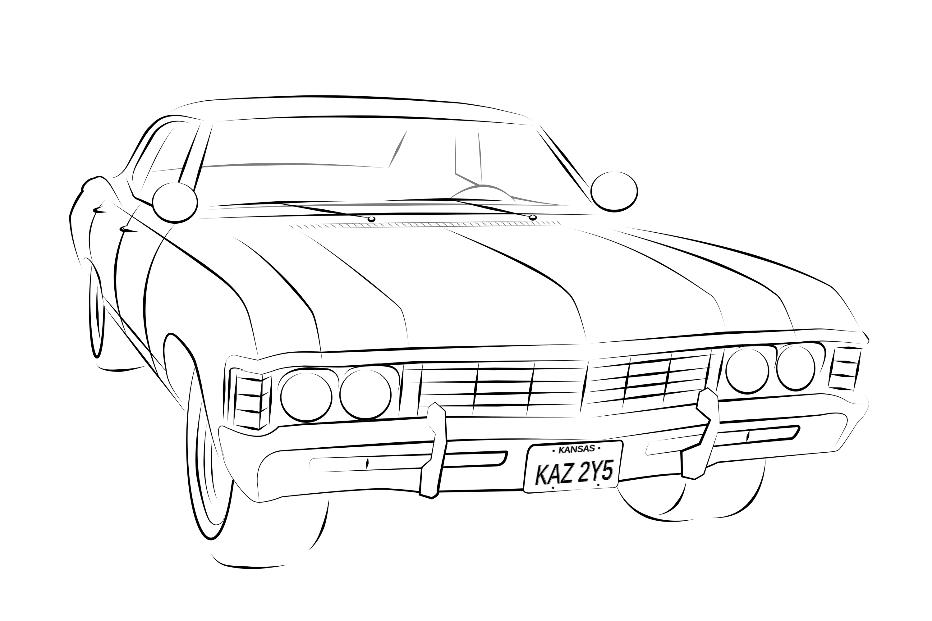 Impala drawing. High resolution line by