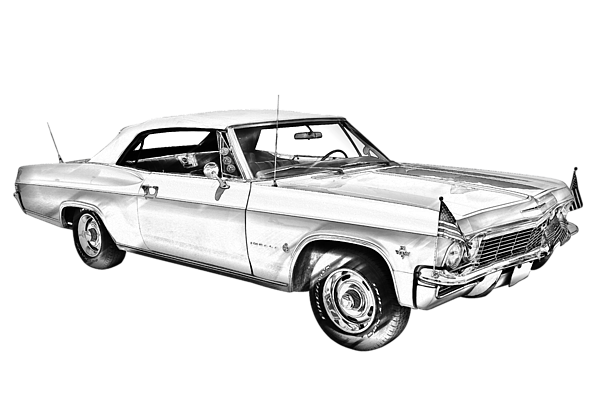 Impala drawing car muscle chevy. Convertible illuistration t