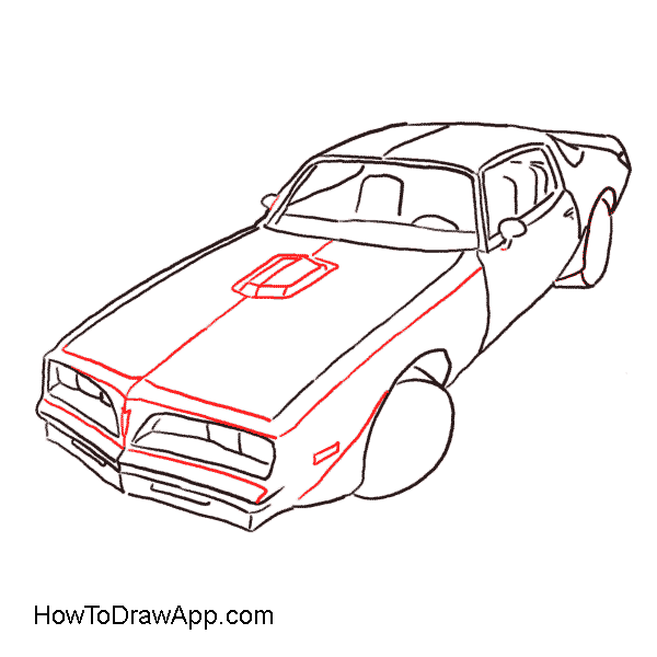 Semi drawing car. Collection of free download