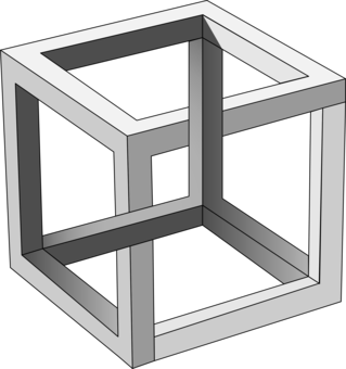 Impossible drawing. Penrose triangle cube object