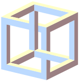 Impossible drawing. Object wikipedia an cube