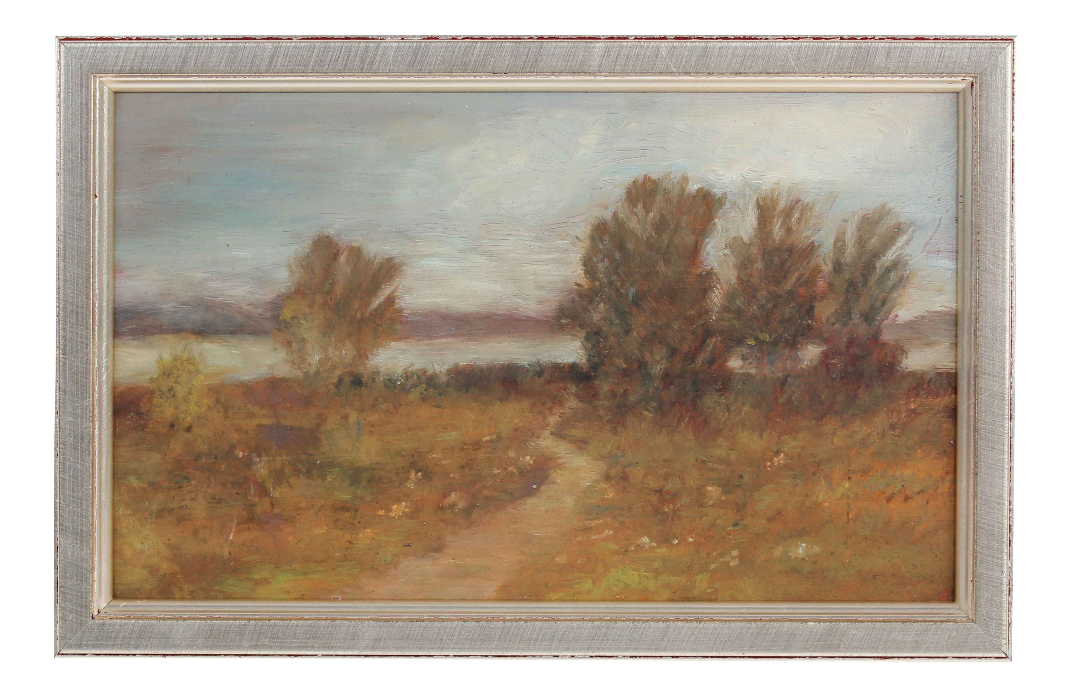 Impressionistic drawing landscape american. Lovely petite impressionist oil