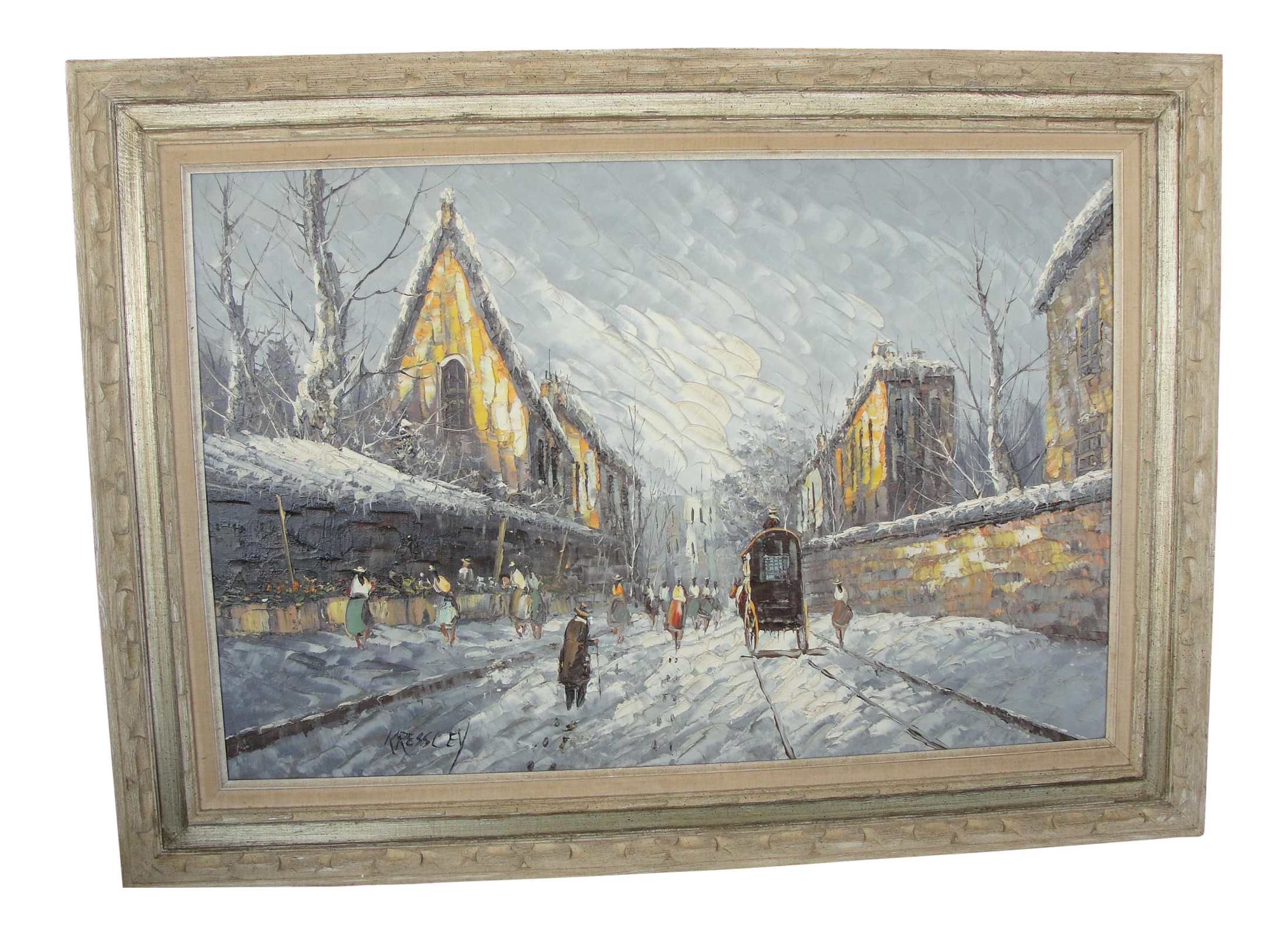 Impressionist drawing. Mid century winter cityscape