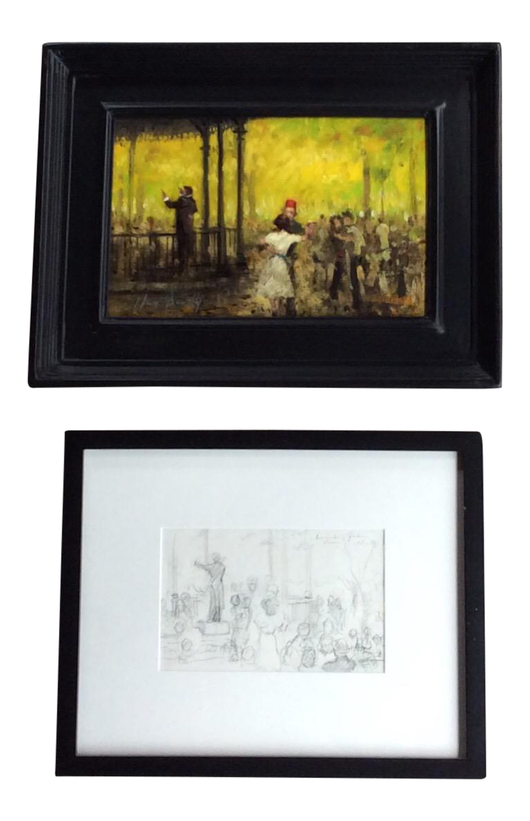 Impressionist drawing. French style oil painting