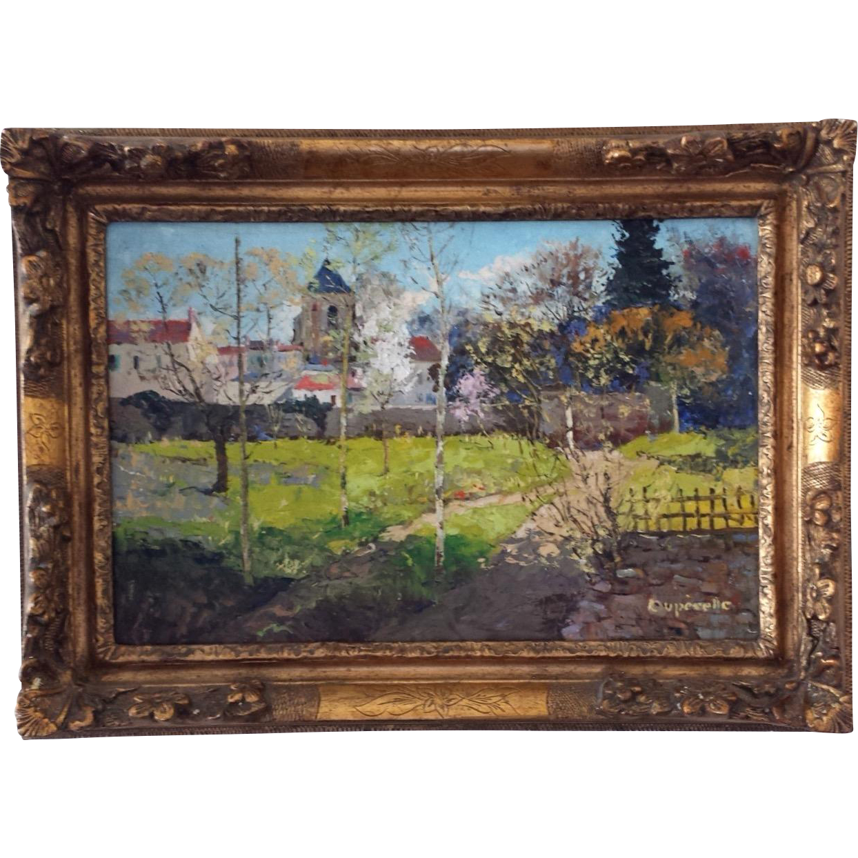 Impressionist drawing. French painting of villemoisson