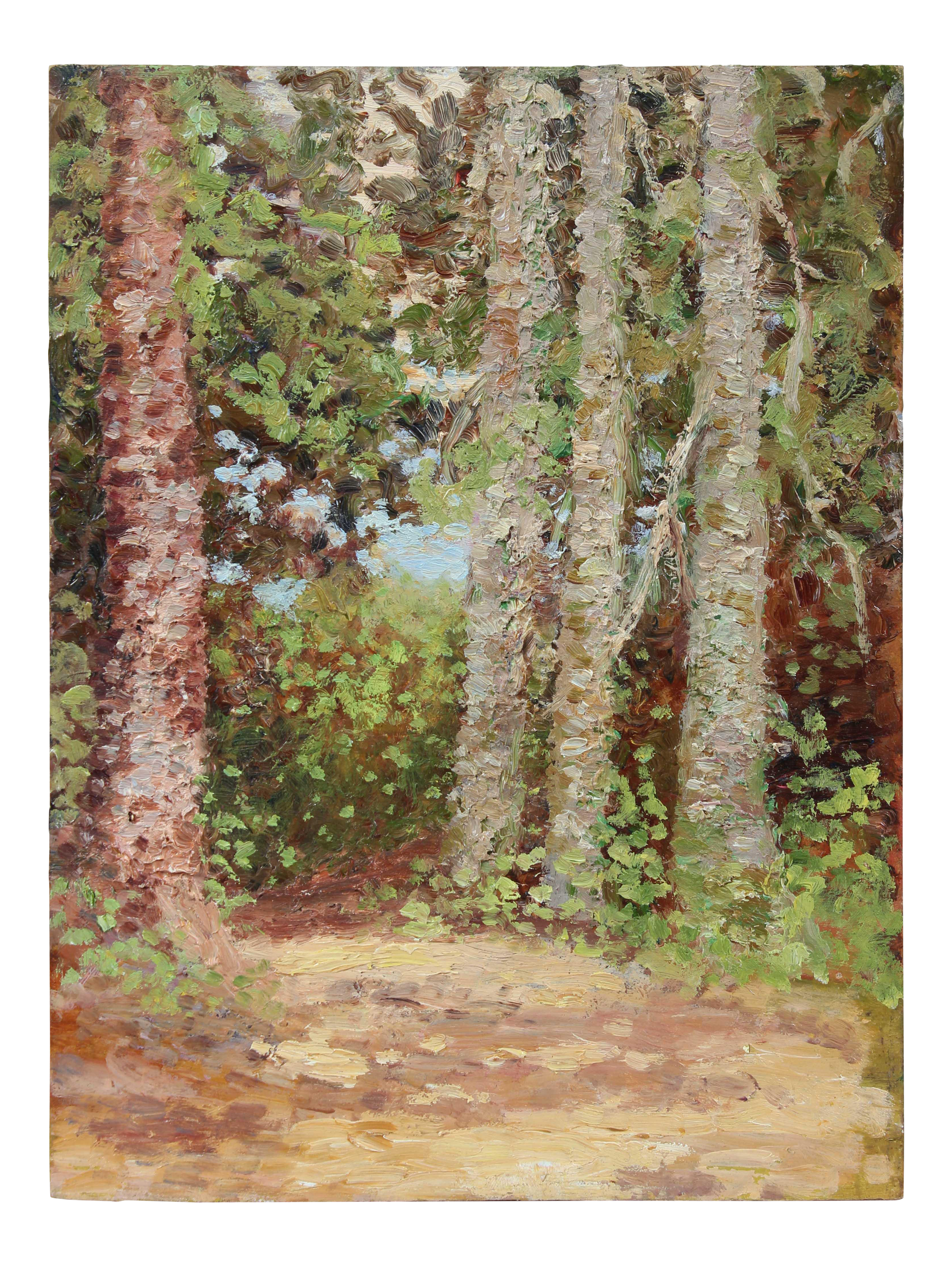 Impressionistic drawing landscape american. Excellent impressionist trees in