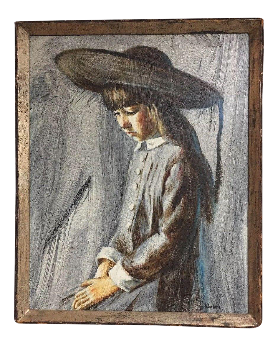 Impressionistic drawing impressionist portrait. Listed frank palmieri oil