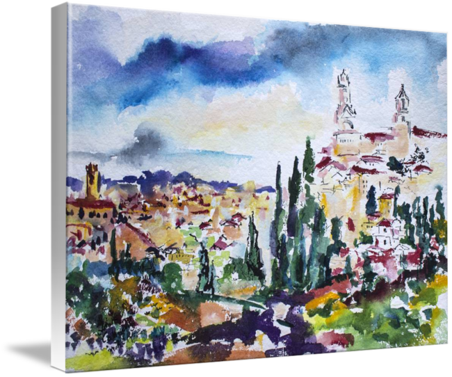 Impressionistic drawing ink. Siena italy tuscan landscape