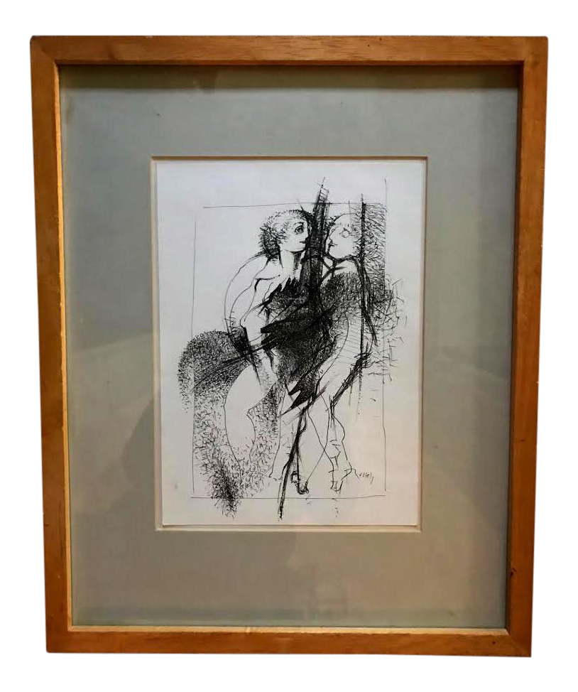 Impressionistic drawing ink. Impressionism signed pen and