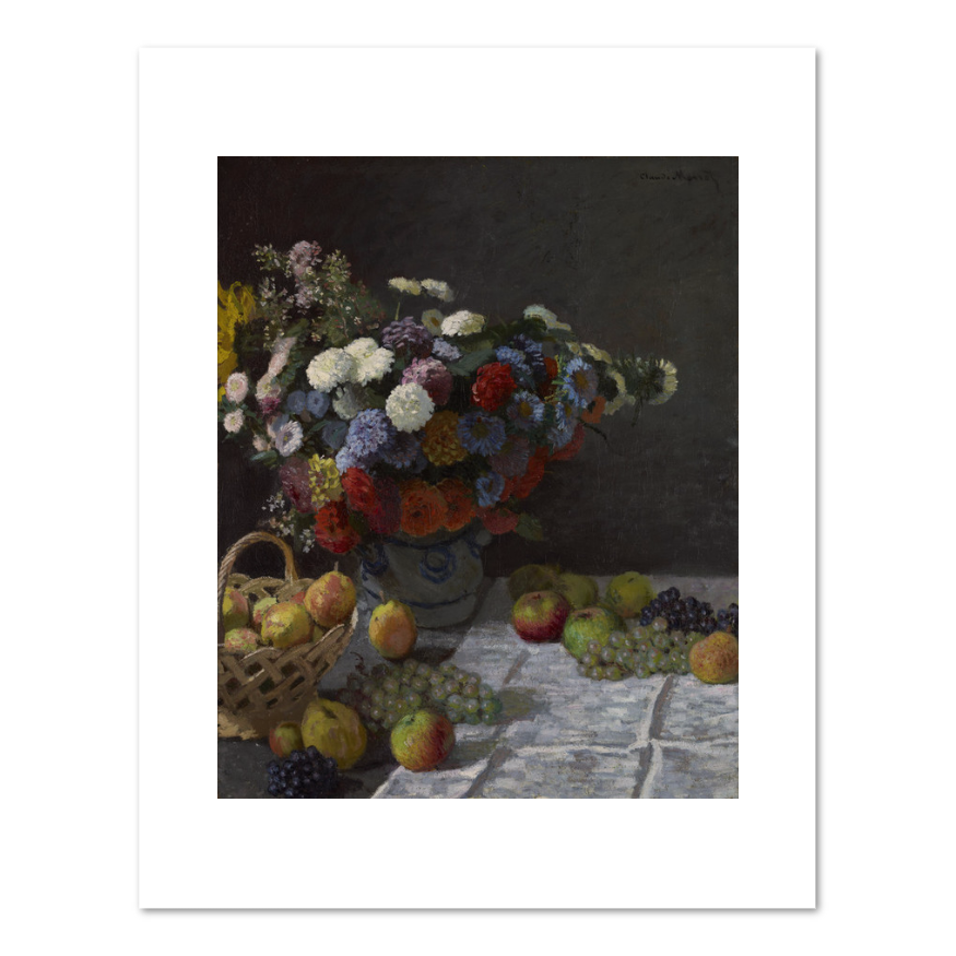 Impressionistic drawing monet. Still life with flowers