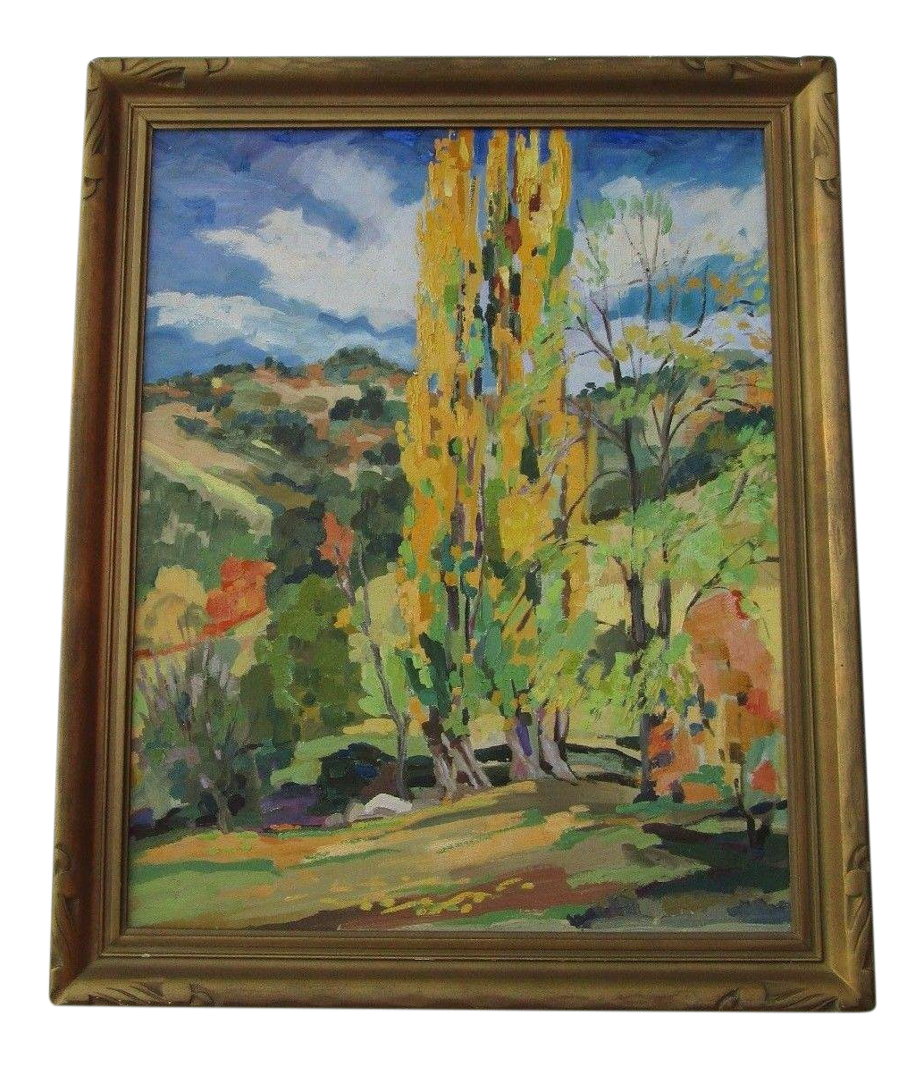 Impressionistic drawing landscape american. Gorgeous bright impressionist painting