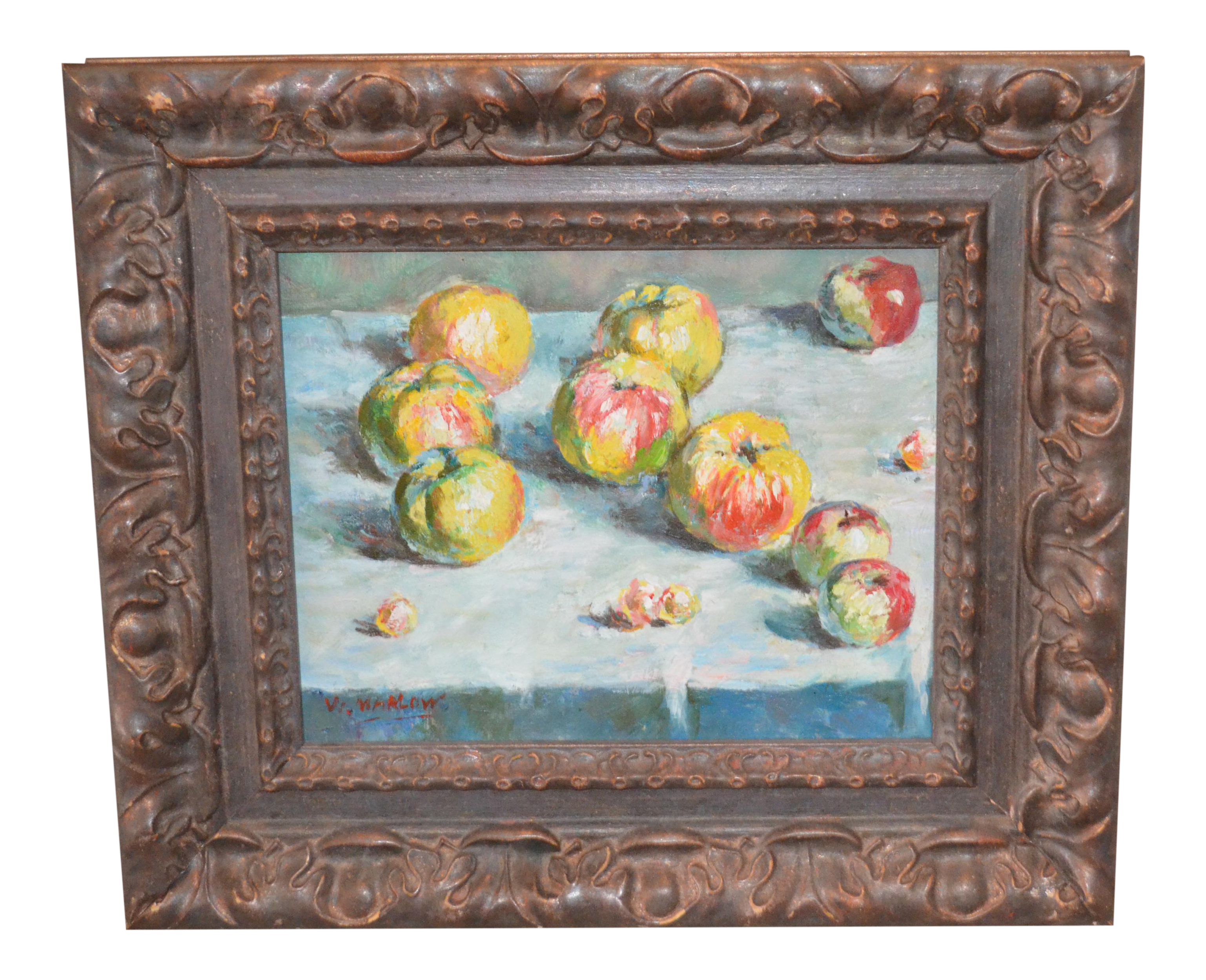 Impressionistic drawing still life. Fruit painting chairish