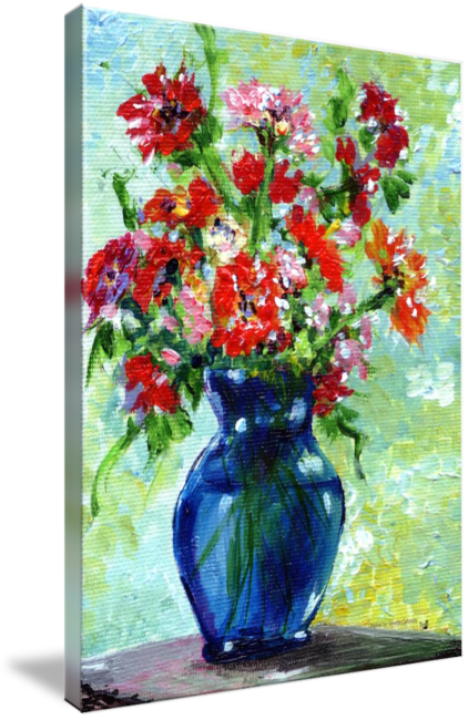 Impressionistic drawing still life. Blue vase impressionist by