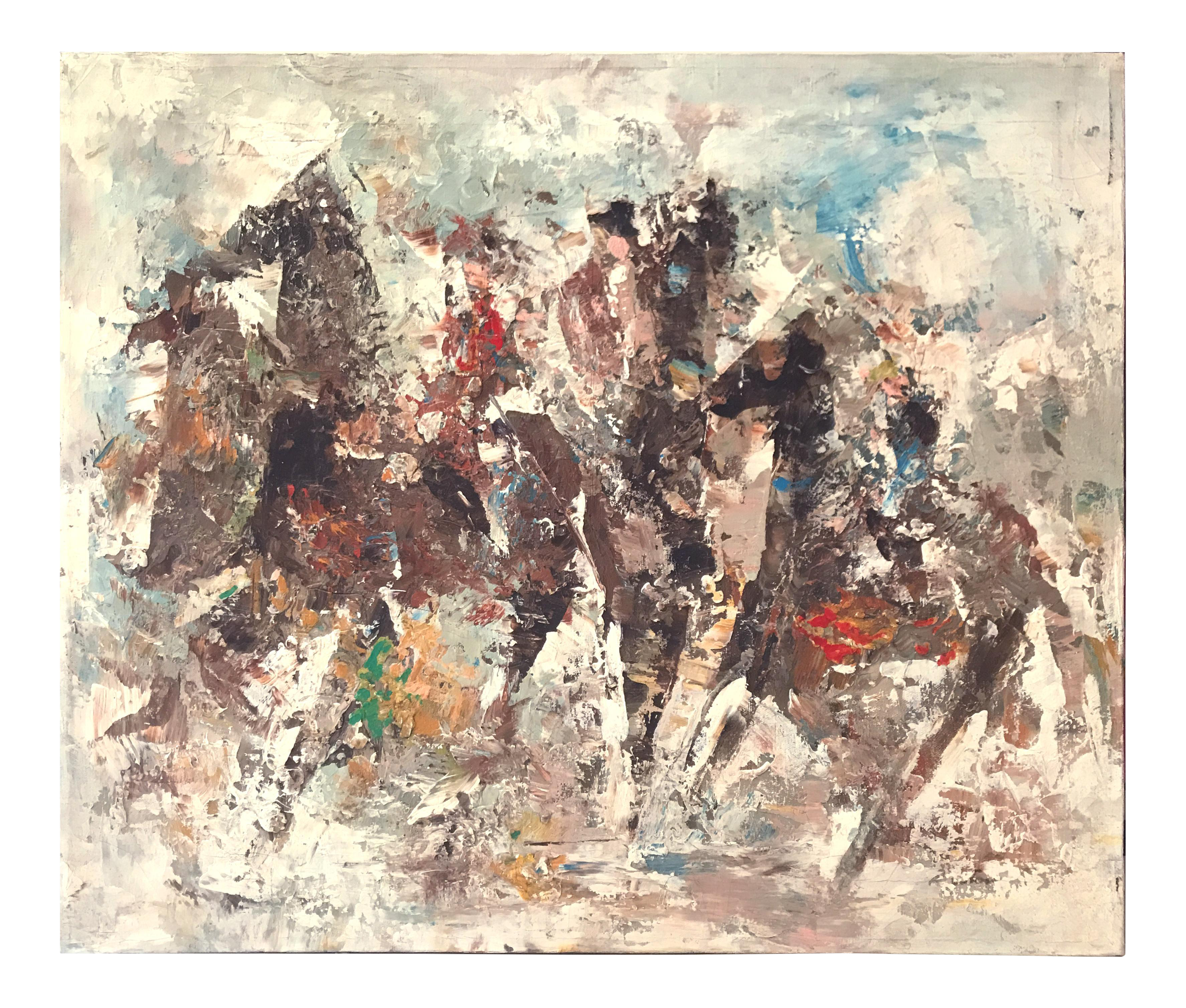 Impressionistic drawing textural. Equestrian scene painting on