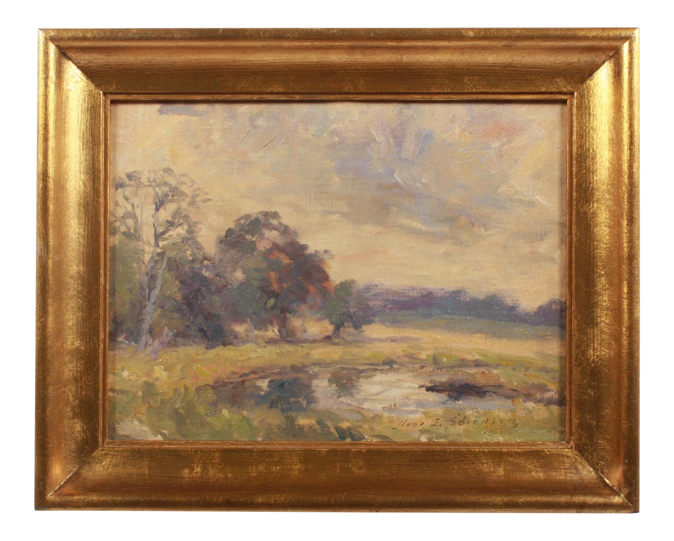 Impressionistic drawing textured landscape. Impressionist by hans e