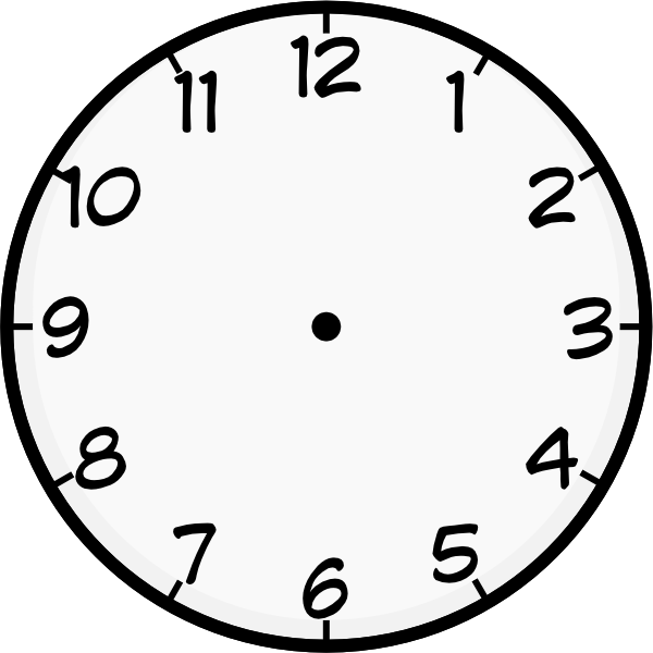 In the clipart clock. Template printable purzen face