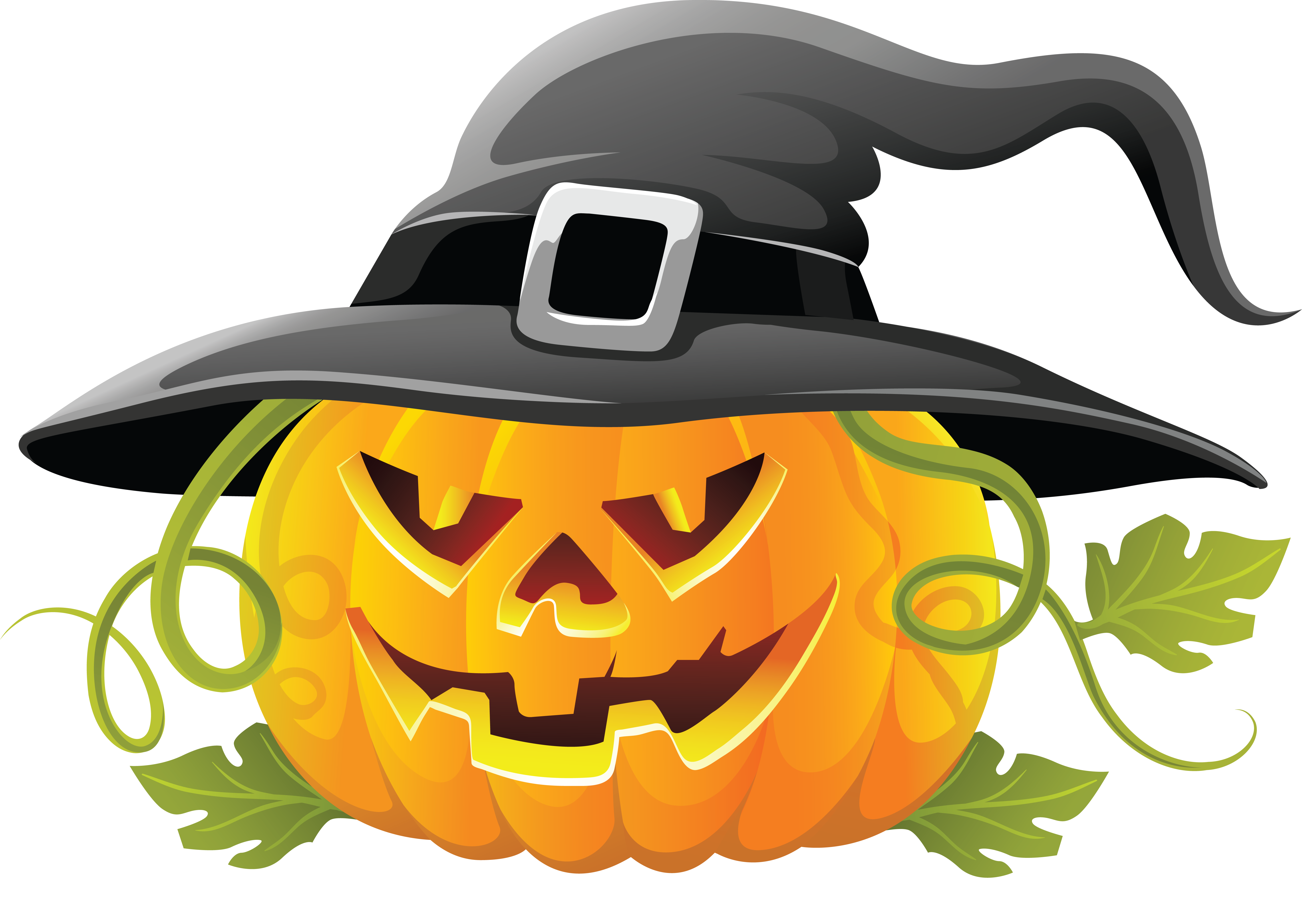 Halloween clipart transparent. Large pumpkin with witch