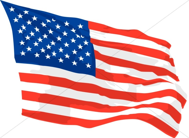 America flag waving in. Independence clipart graphic