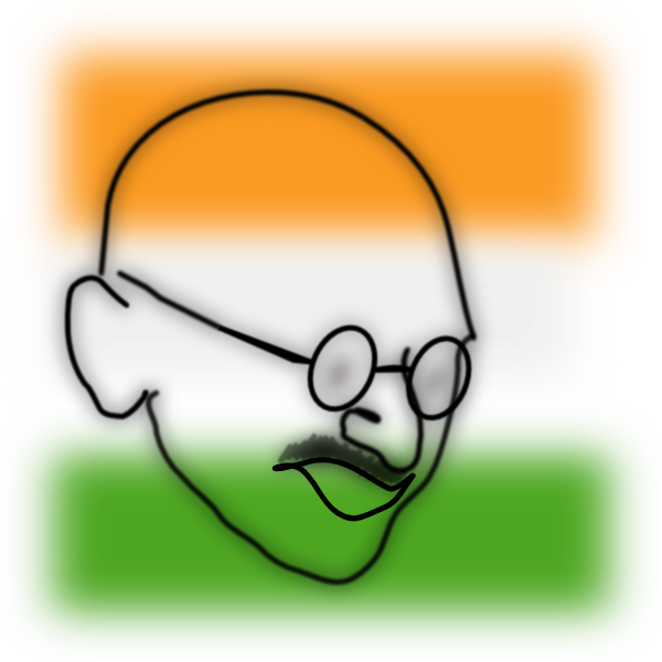 Independence drawing happy. Gandhi clip art at