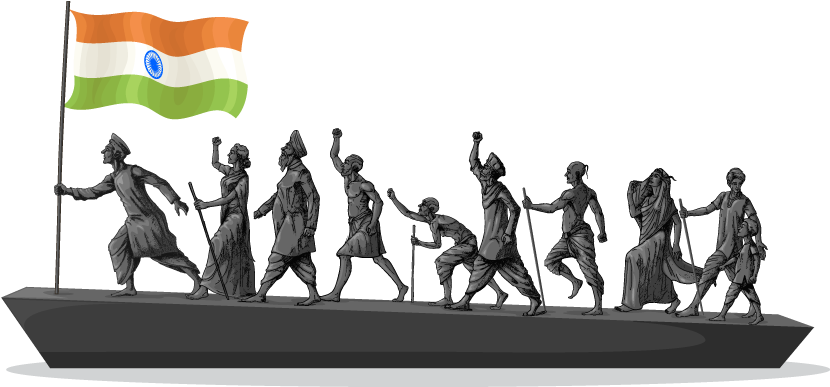 Independence drawing moment. Timeline of indian freedom